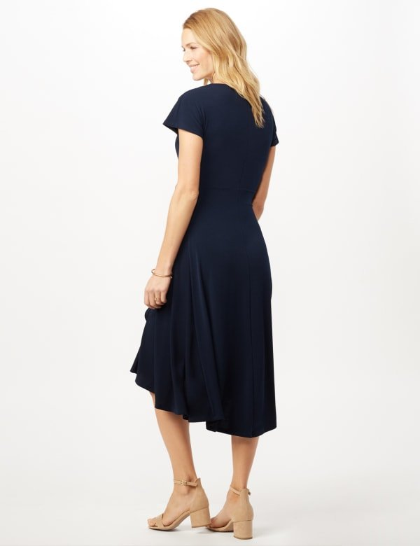 Stretch Crepe Tie Waist Hi-Lo Dress - Navy - Back
