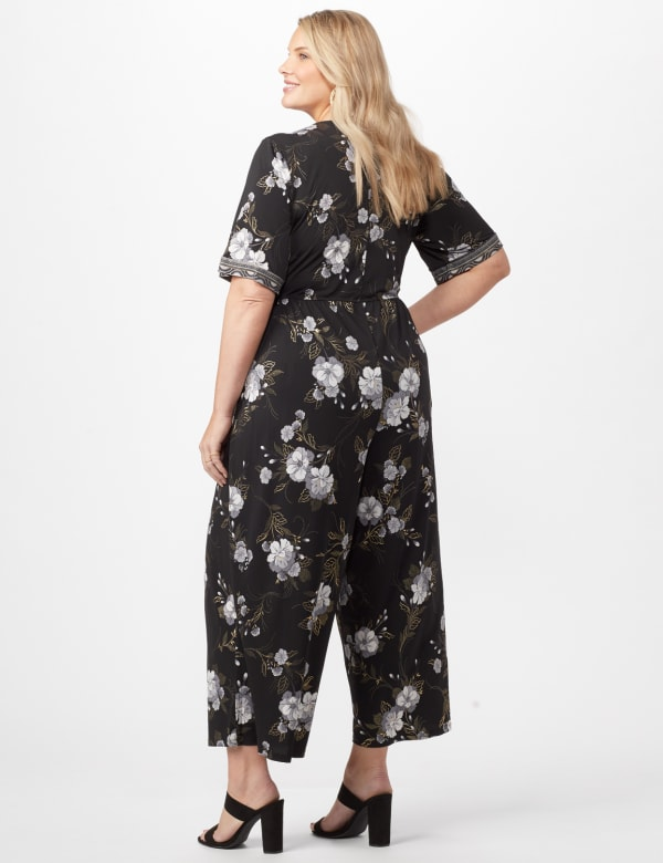 Floral Border Jumpsuit Plus - Black/Grey - Back