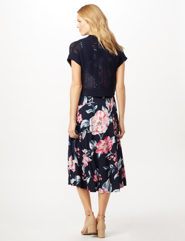 Floral Dress with Crochet Sweater - Navy/Pink - Back