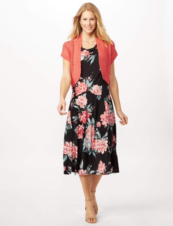 Floral Dress with Crochet Sweater - Black/Coral - Front