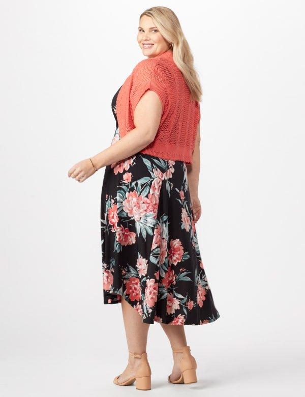 Floral Dress with Crochet Sweater Plus - Black/Coral - Back