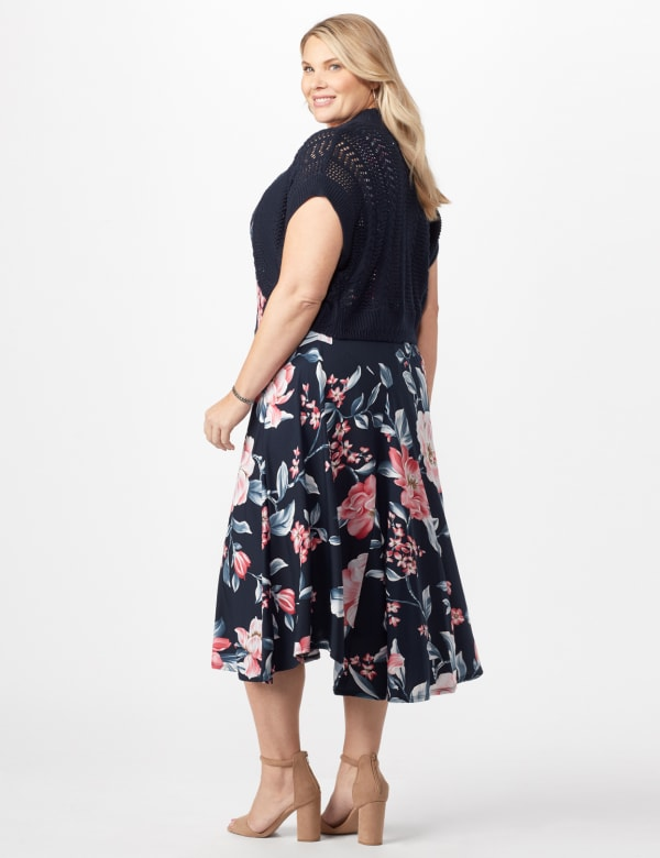 Floral Dress with Crochet Sweater Plus - Navy/Pink - Back