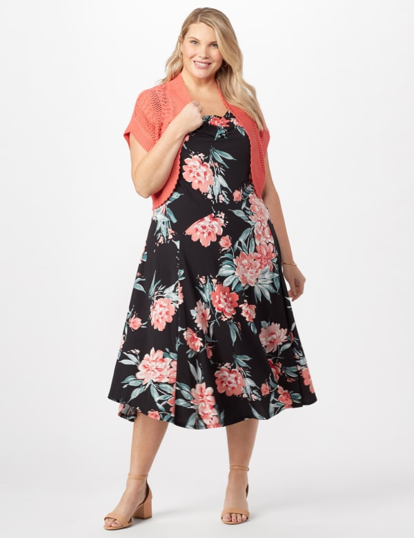 Floral Dress with Crochet Sweater Plus - Black/Coral - Front