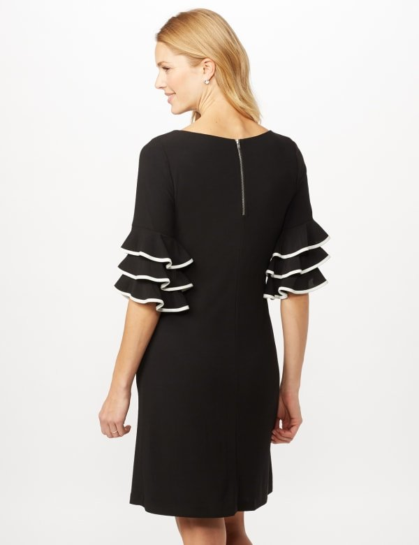 Ruffle Chacha Sleeve Sheath Dress - Black/Ivory - Back