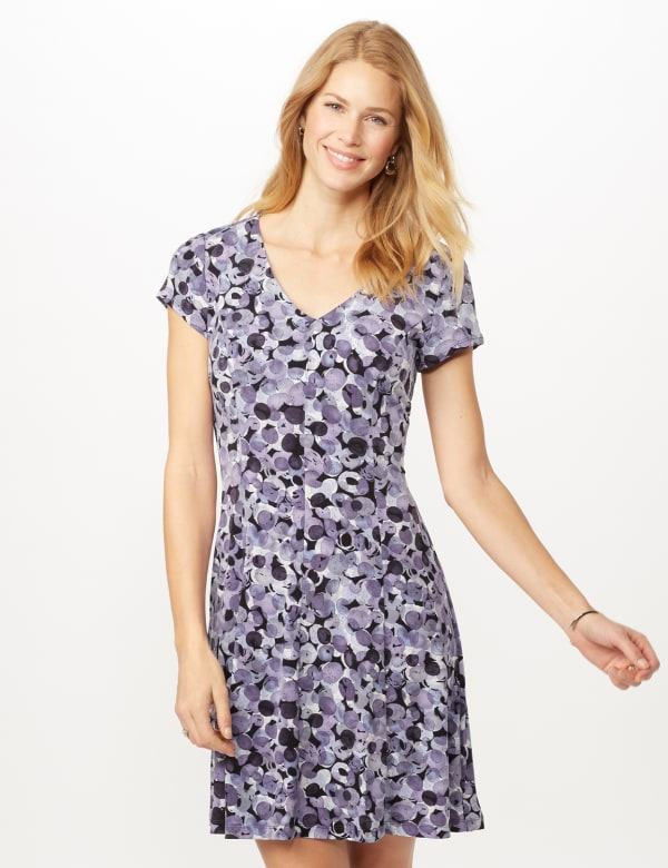 Bubble Dot Dress with Seam Detail - Lilac - Front