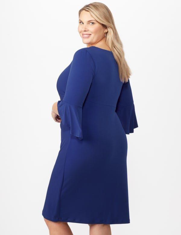 3/4 Wrap Dress with Side Ruching - Royal - Back