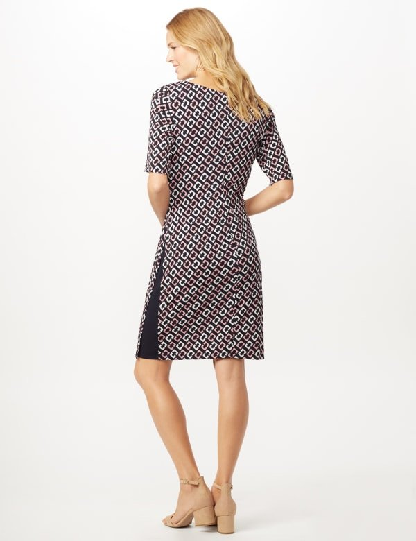Geometric Side Wrap Dress - Mauve - Back