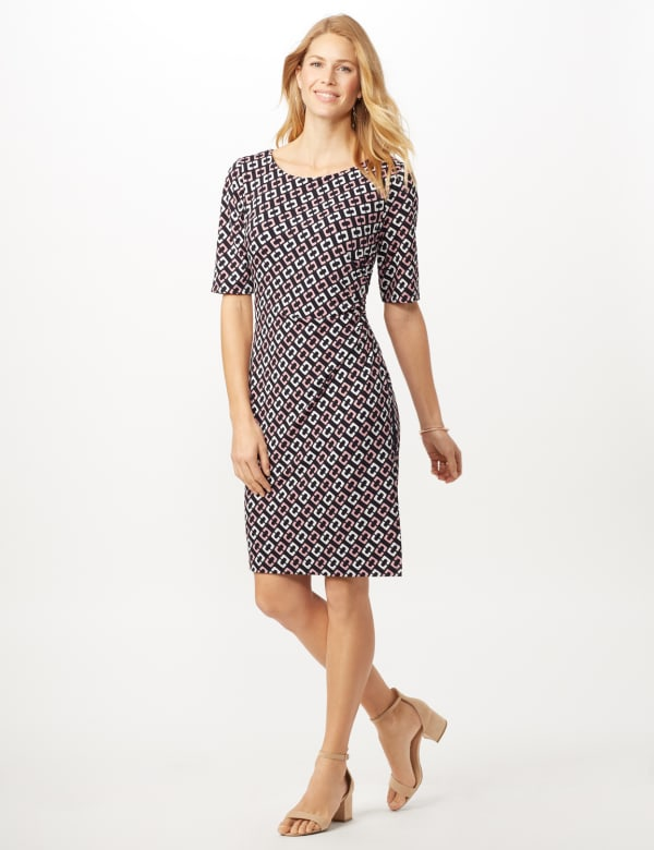 Geometric Side Wrap Dress - Mauve - Front