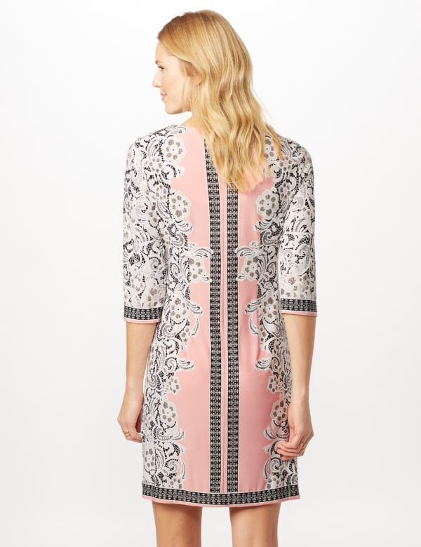 Placed ITY Puff Print Dress - Blush/Ivory - Back