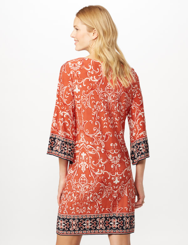 Scroll Puff ITY Border Print Dress - Orange - Back