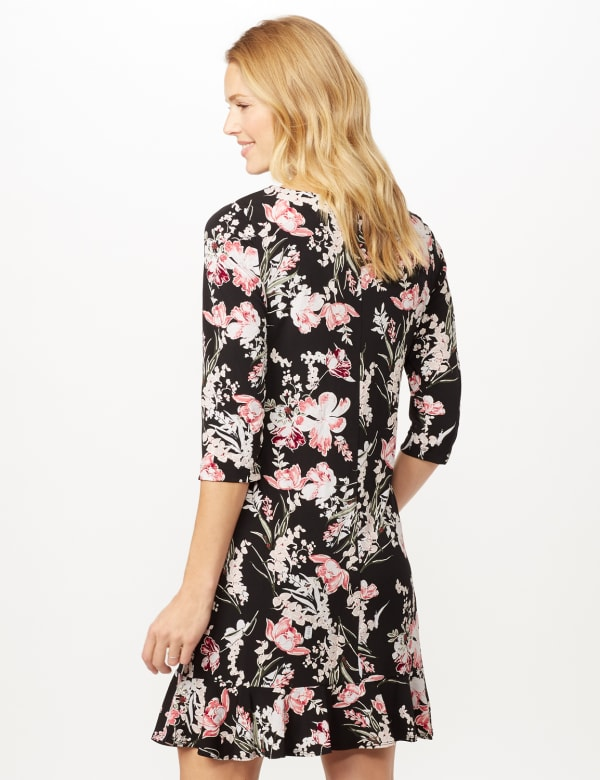 Floral Puff ITY Dress with Flounce Hem - Black/Blush - Back