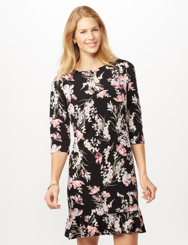 Floral Puff ITY Dress with Flounce Hem - Black/Blush - Front