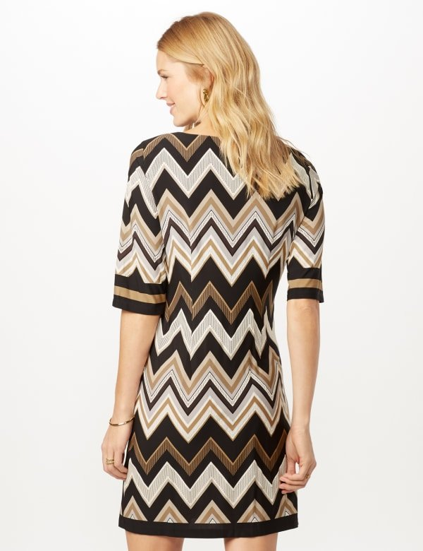 Chevron Sheath Dress - Black/Neutral - Back