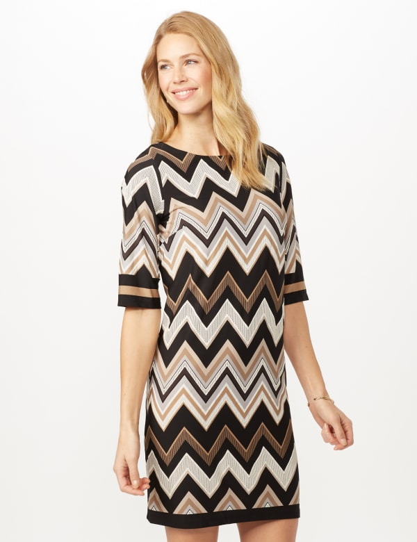 Chevron Sheath Dress - Black/Neutral - Front