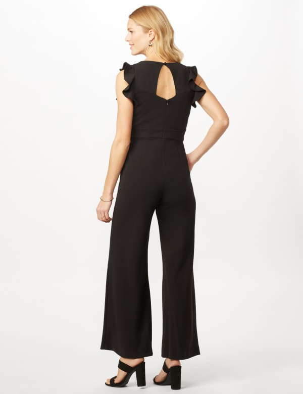 Flutter Sleeve Scuba Crepe Jumpsuit - Black - Back