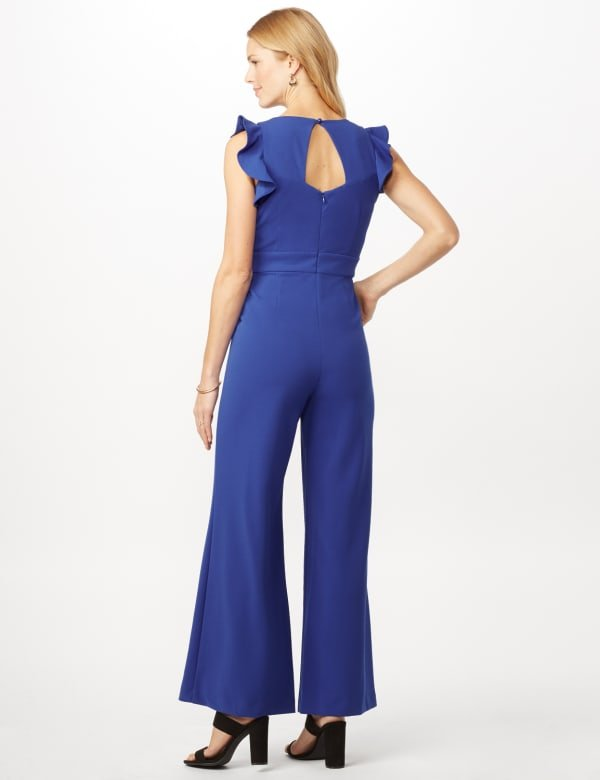 Flutter Sleeve Scuba Crepe Jumpsuit - Royal - Back