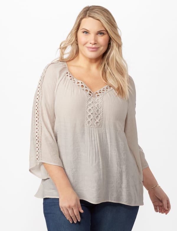 V-Neck Slub Crochet Woven Top - Light Stone - Front