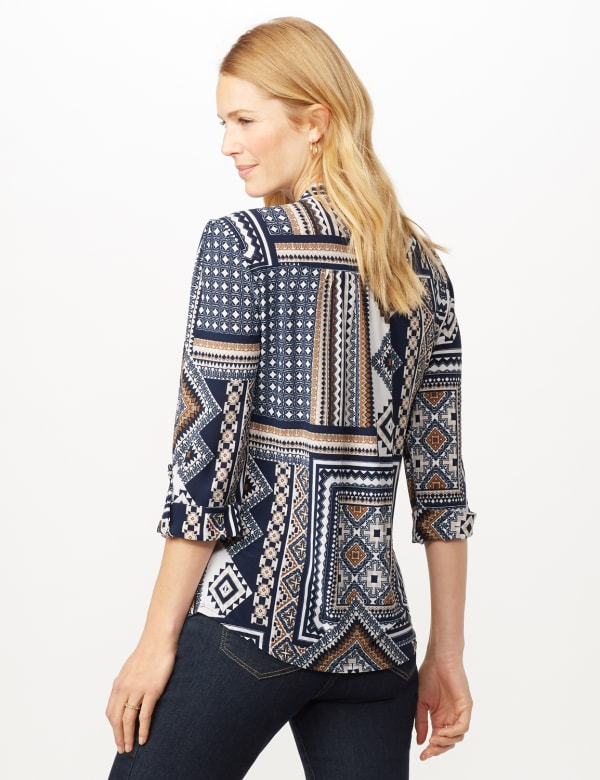 Patchwork Geometric Popover - Blue Multi - Back