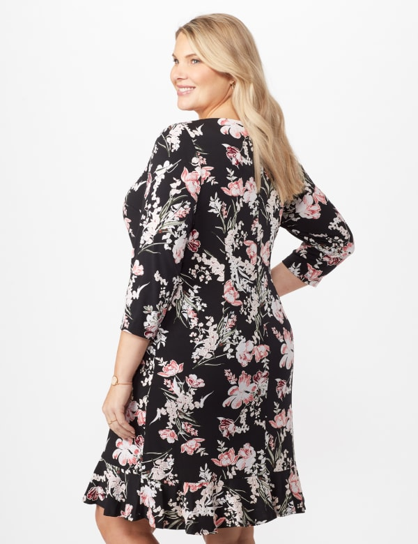 Floral Puff ITY Dress with Flounce Hem - Plus - Black/Blush - Back