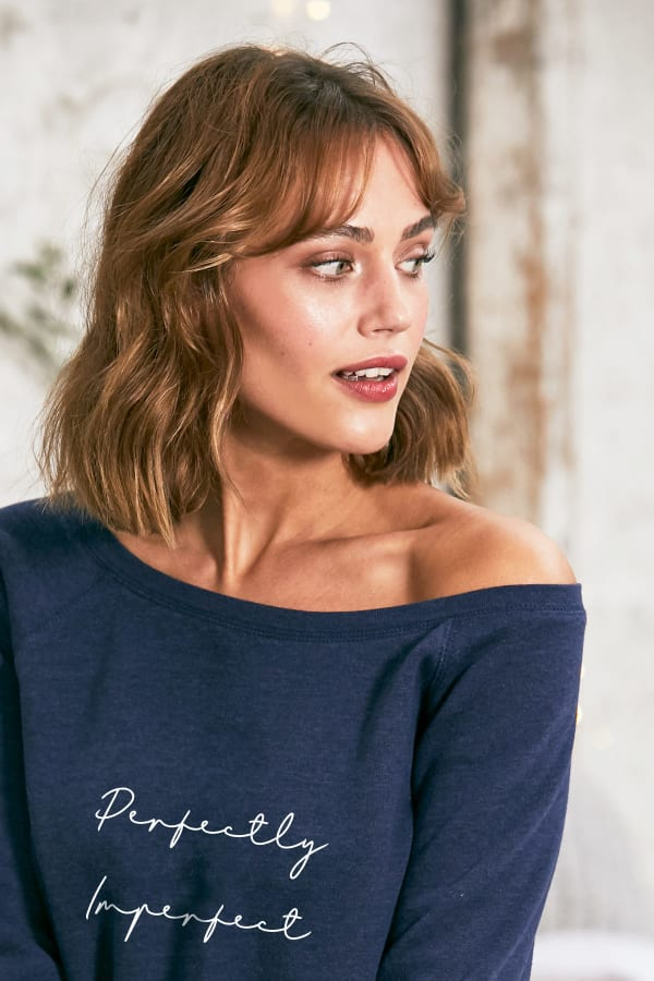 """Perfectly Imperfect"" Cozy Pullover - Navy - Back"