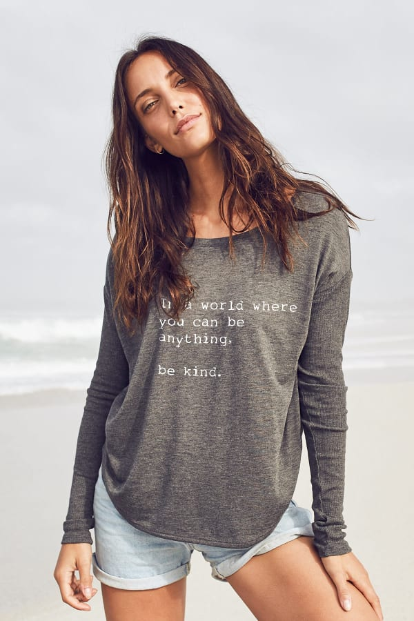 """Be Kind"" Long Sleeve Tee - Dark Grey - Front"