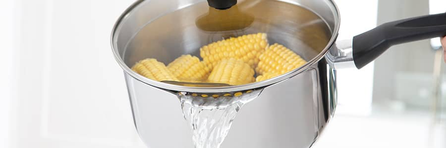 The ideal pasta pan from Prestige allows you to cook & strain in one, thanks to the clever straining lids - also saving on cupboard space!