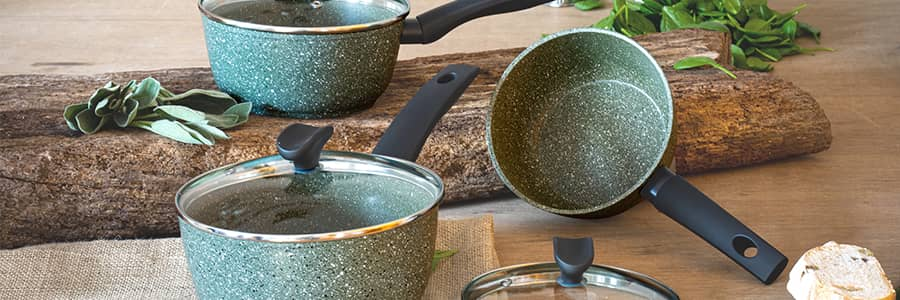 Our Eco cookware range is recycled and recyclable. These safe non stick pans are PFOA free, and for every pan bought we will plant a tree with Tree Aid