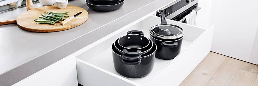 Prestige's nesting non stick cookware features the ultimate in stackable pans, in both aluminium and stainless steel. A true space saving kitchen hack!