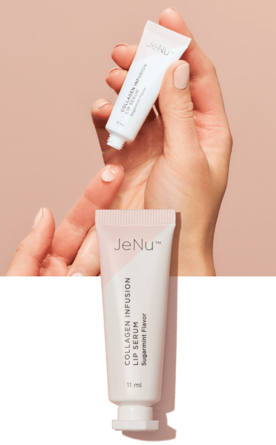 Hands using JeNu Collagen Infusion Lip Serum