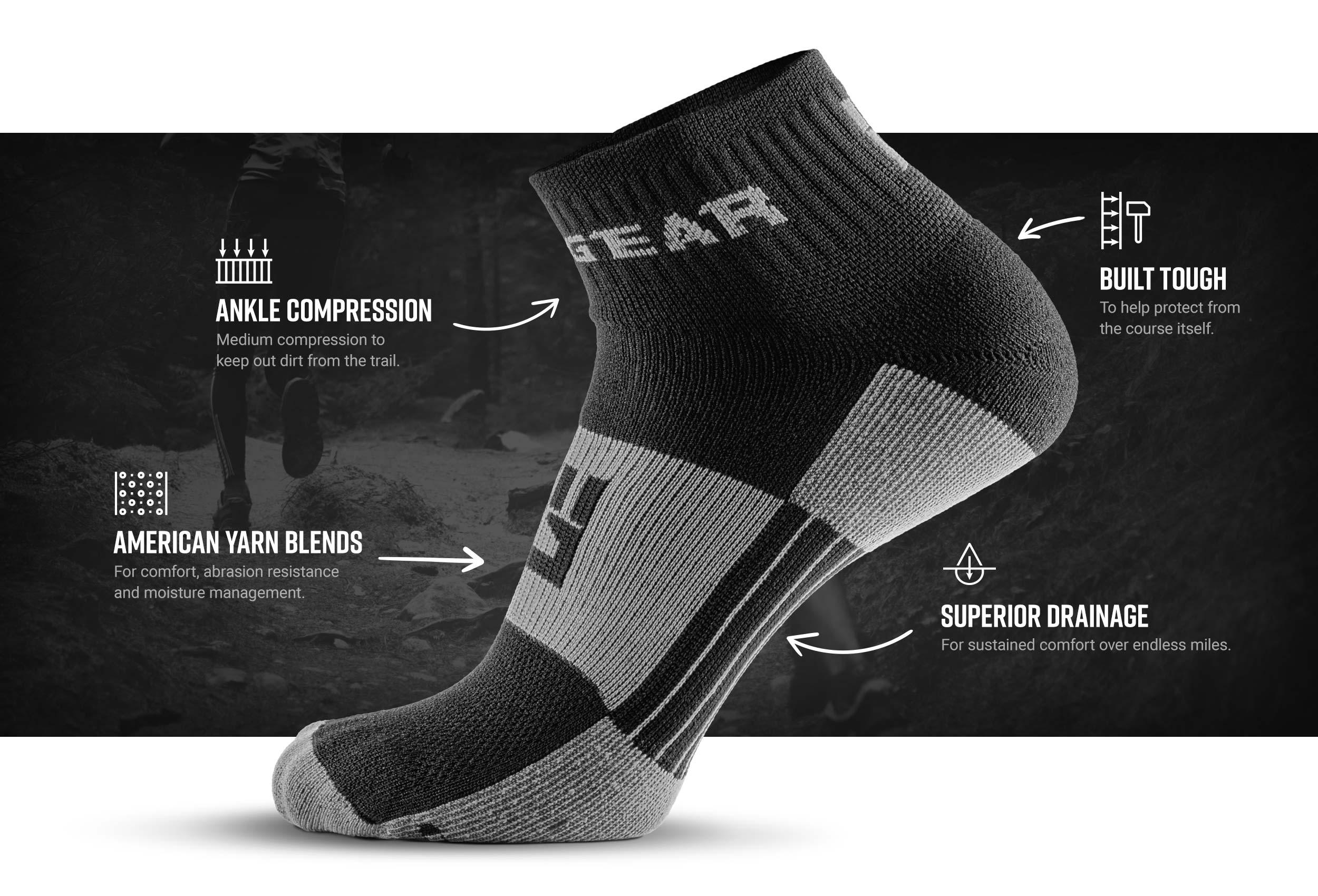Infographic of 1/4 Crew Socks - Black/Gray (2 pair pack)