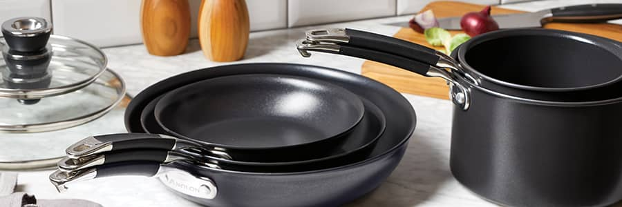 Nesting non-stick cookware. Anolon's stackable cookware set saves up to 62% kitchen cupboard space. So you can cook in your happy place, clutter and stress free