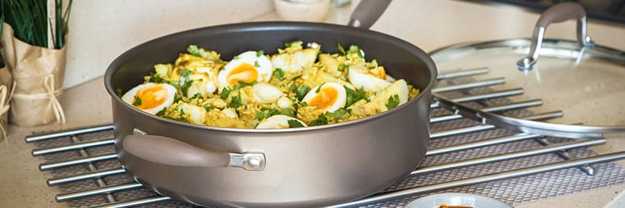 Anolon Advanced+ Umber range of hard anodized cookware is dishwasher safe & oven safe. Triple layer non-stick provides maximum food release. Time to find your happy place with our professional kitchen cookware.