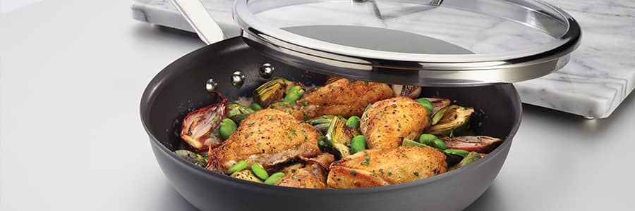 Authority Hard Anodized Cookware from Anolon. Oven safe, dishwasher safe cookware designed for elevated cooking experiences.
