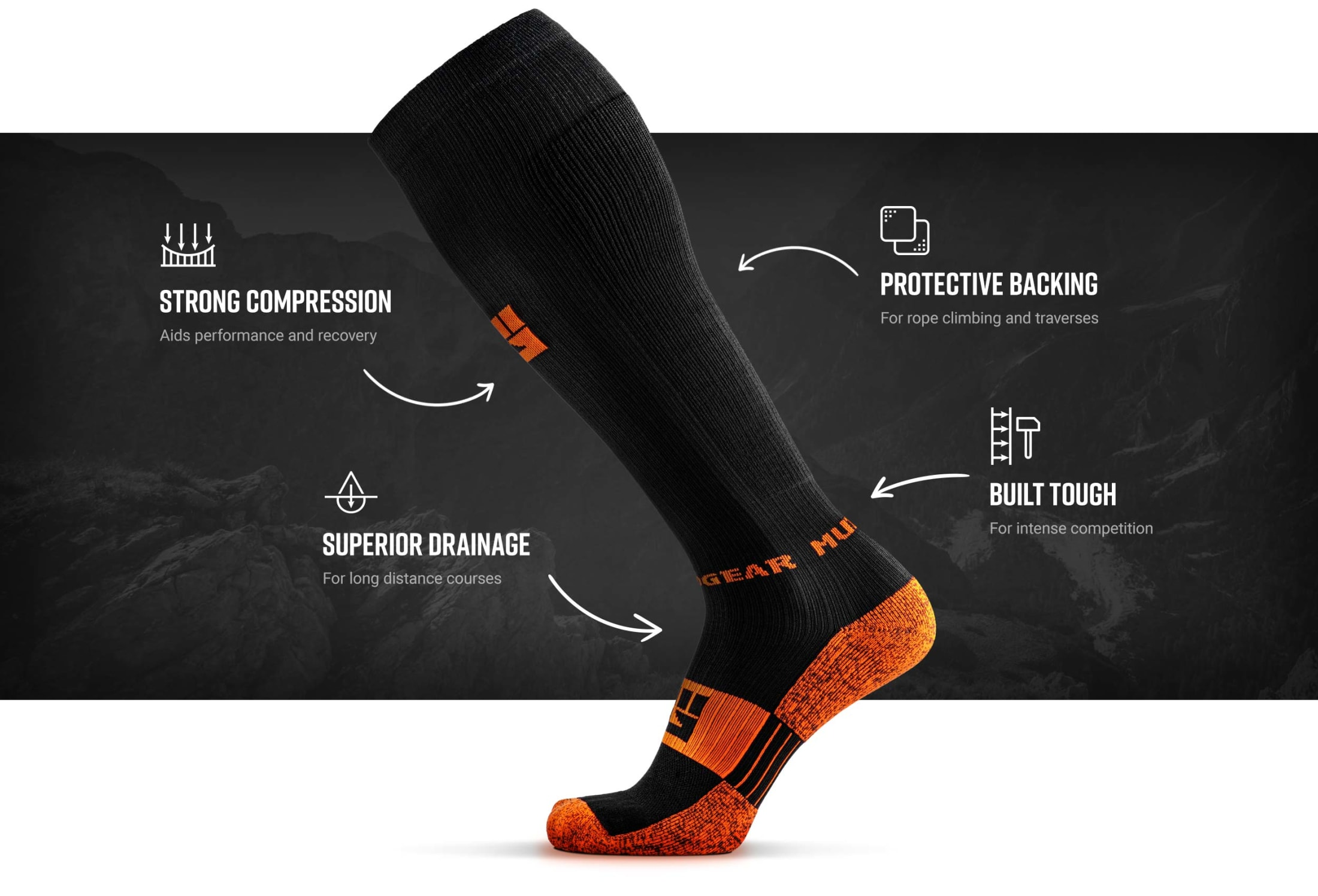 Infographic of Tall Compression Socks (Black/Orange)
