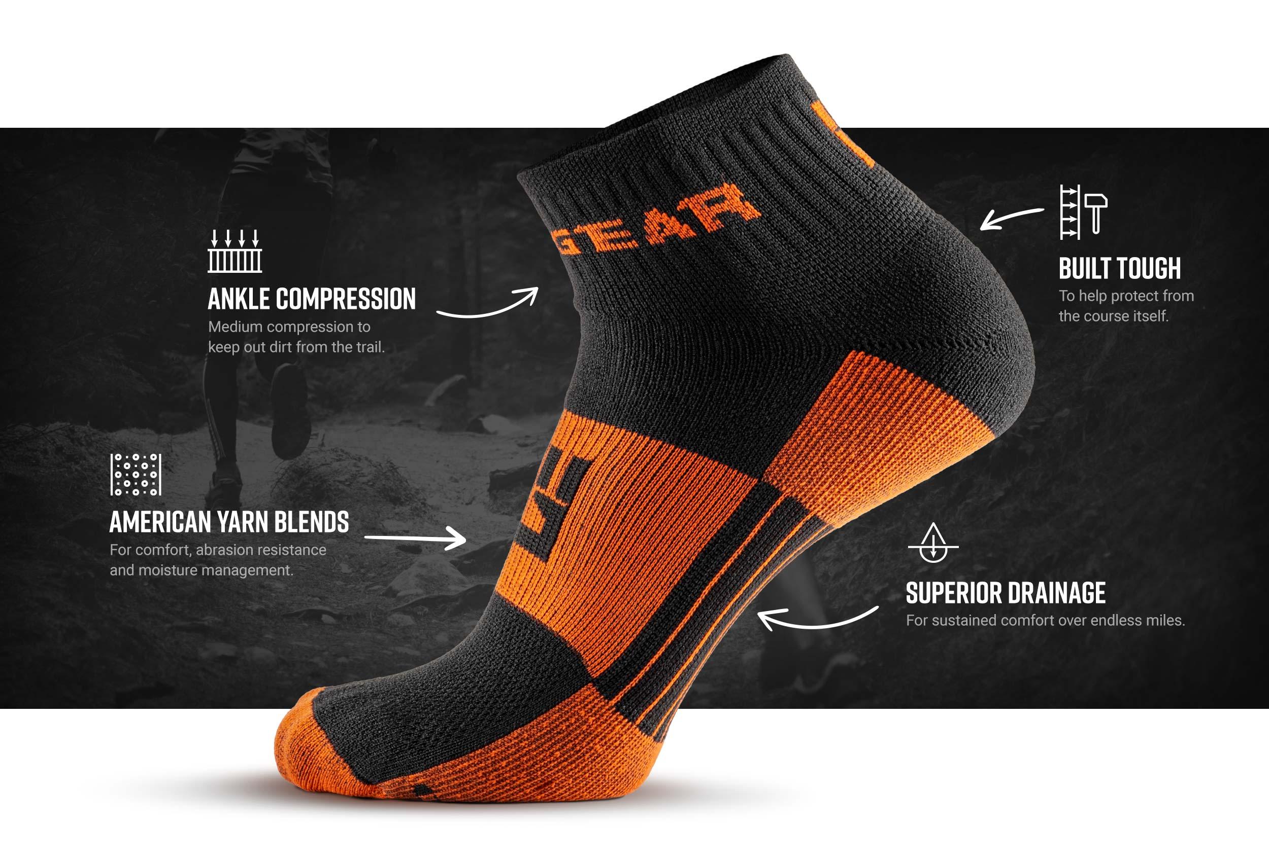 Infographic of 1/4 Crew Socks - Black/Orange (2 pair pack)