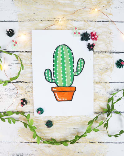 Cactus Chalk Drawing