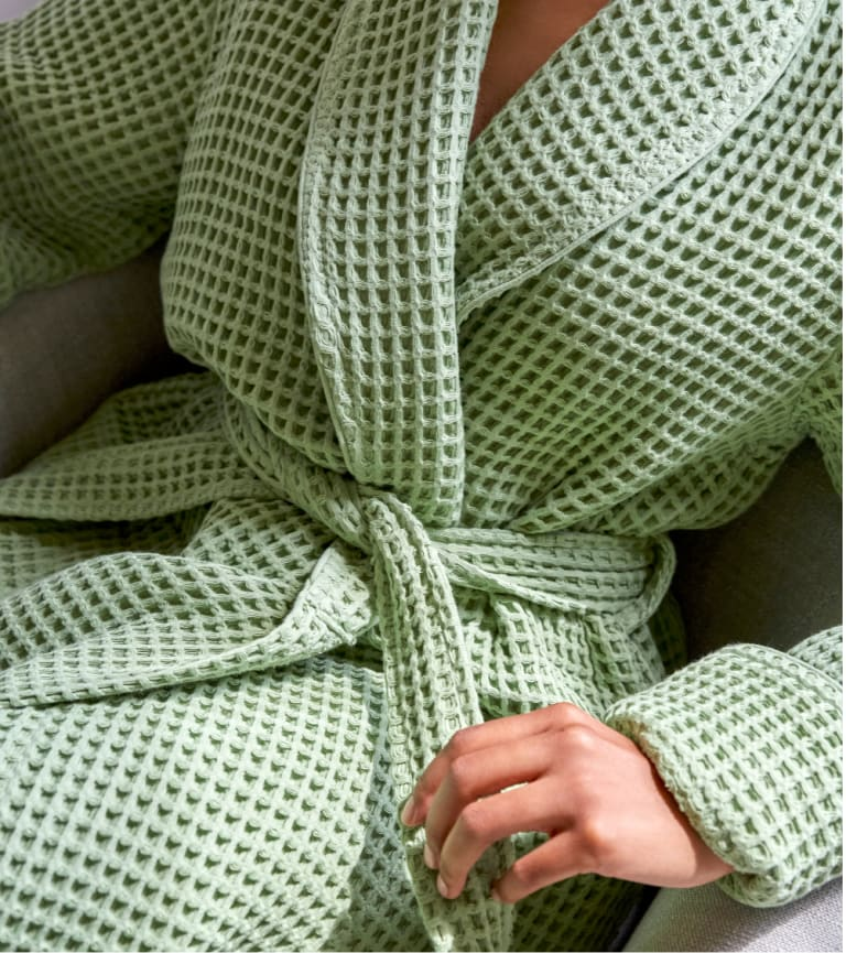 Model styled in our Waffle Robe in Spruce