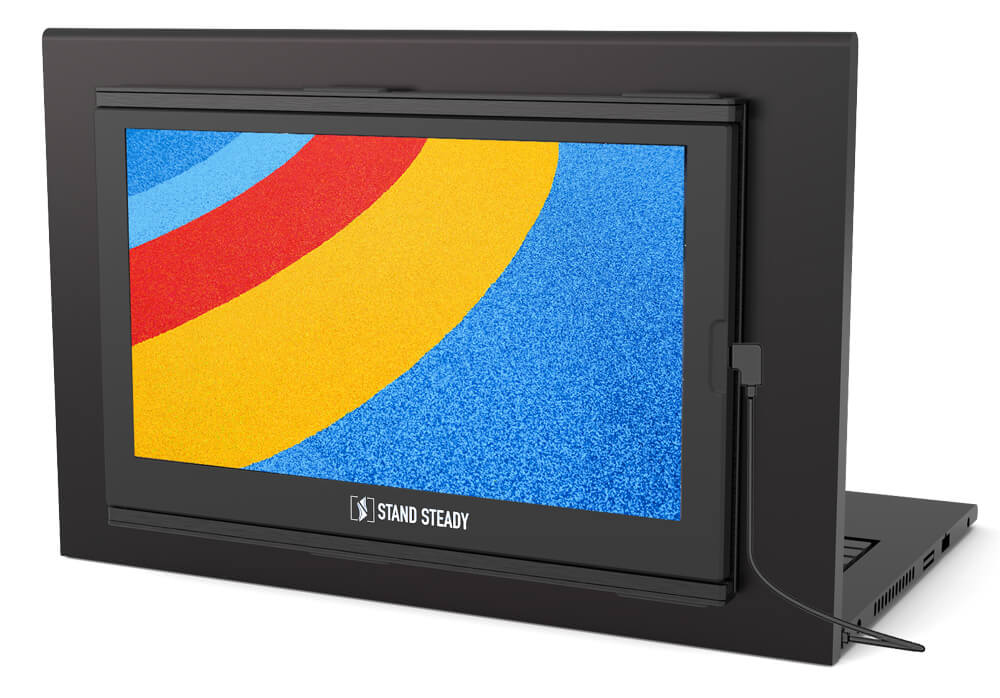 sidetrak slide black monitor for laptop floating on a white background with a colorful screen saver