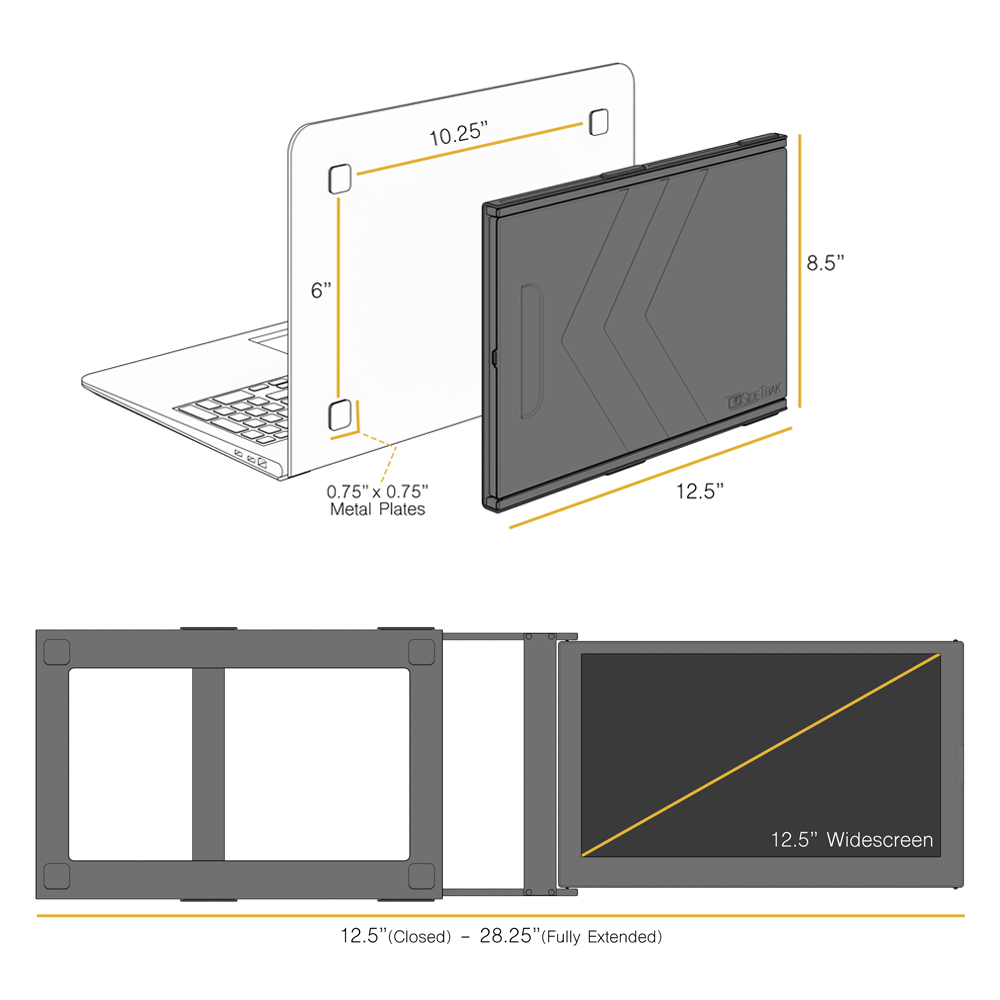 tech specifications for the sidetrak slide monitor for laptop
