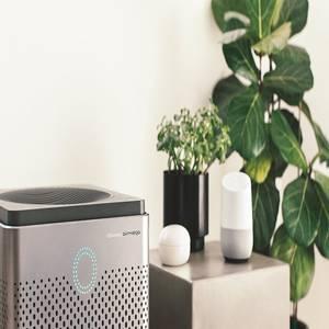 Coway Airmega 400 Graphite on living room next to Google Home Smart Speaker