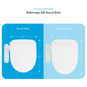 Coway Bidetmega 200 Round Bowl Measures Diagram