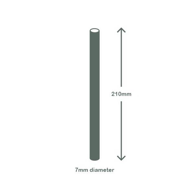 Regular 7 x 210mm PLA / bio straw - clear w green stripe