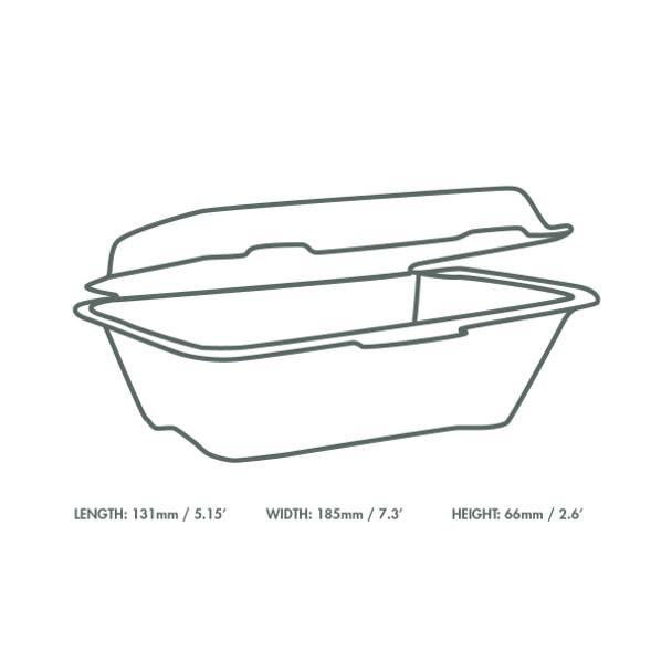7 x 5 inch Regular Bagasse Clamshell - White