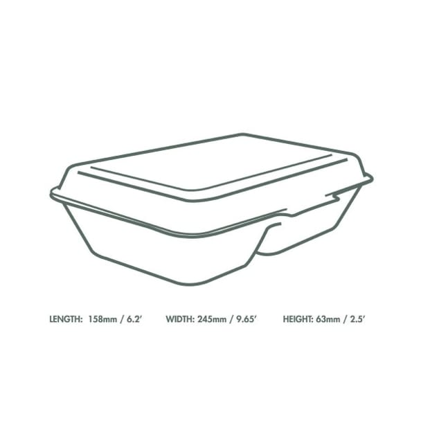 9 x 6 inch Bagasse Clamshell - 2 Compartment - White