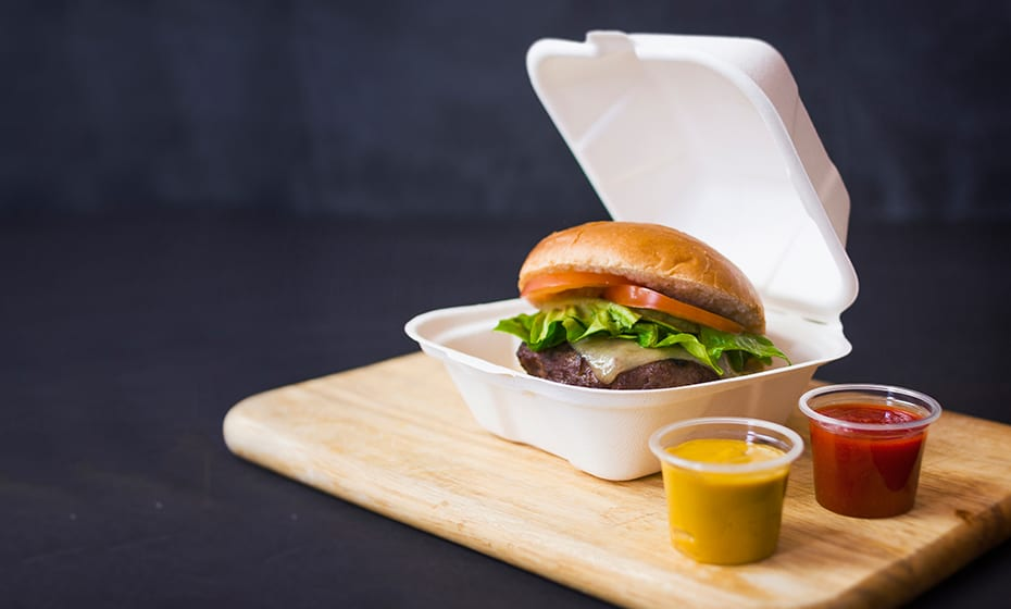 5 inch Mini Bagasse Burger Box - White