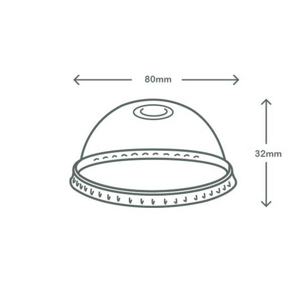 Dome PLA lid - straw slot - 76 series