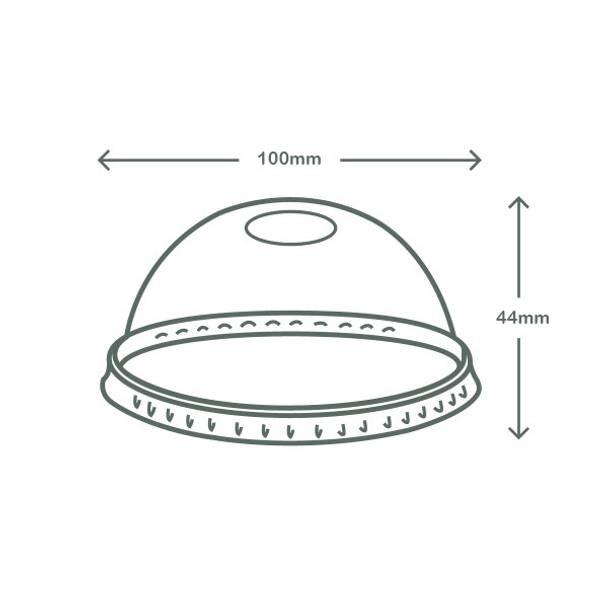 Dome PLA lid - O shape straw hole - 96 series
