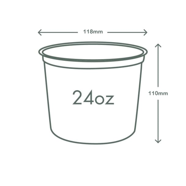 24oz (750ml) Round container - clear