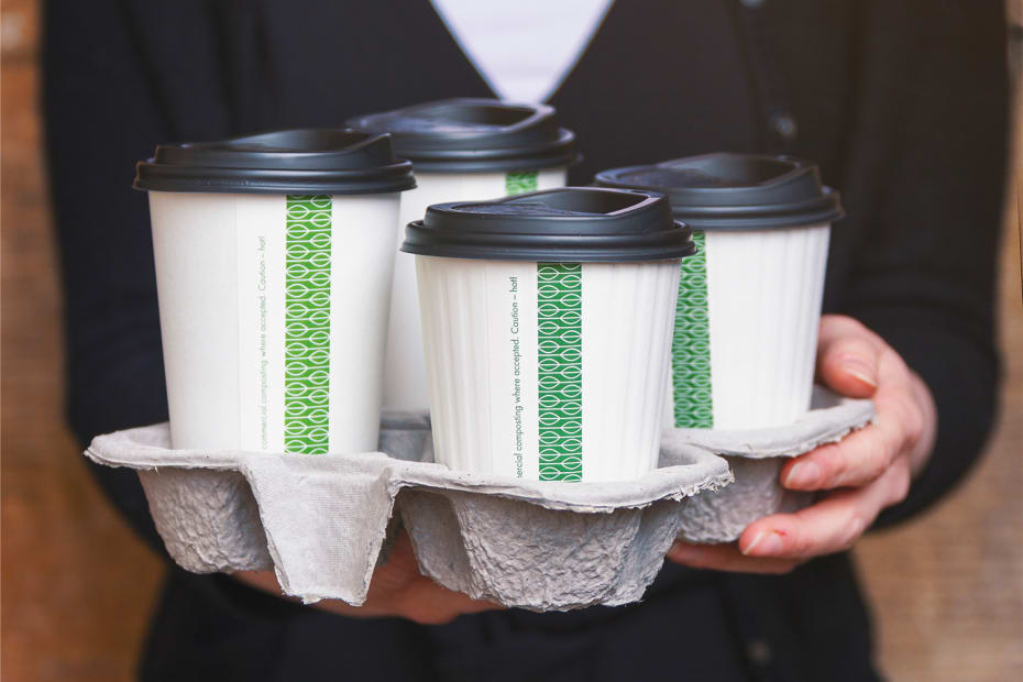 Splittable 4-cup coffee carry tray