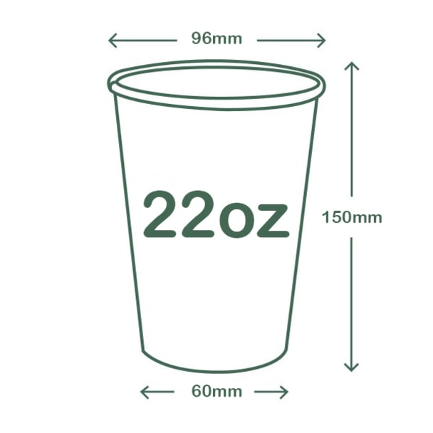 22oz (650ml) paper cold cup - Hula - 96 Series